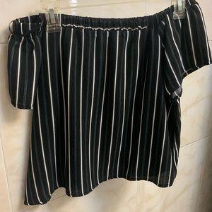 Off shoulder stripe shirt